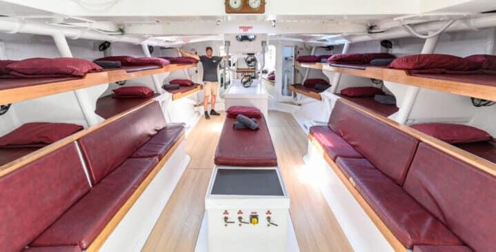 inside the boats where you live and sleep