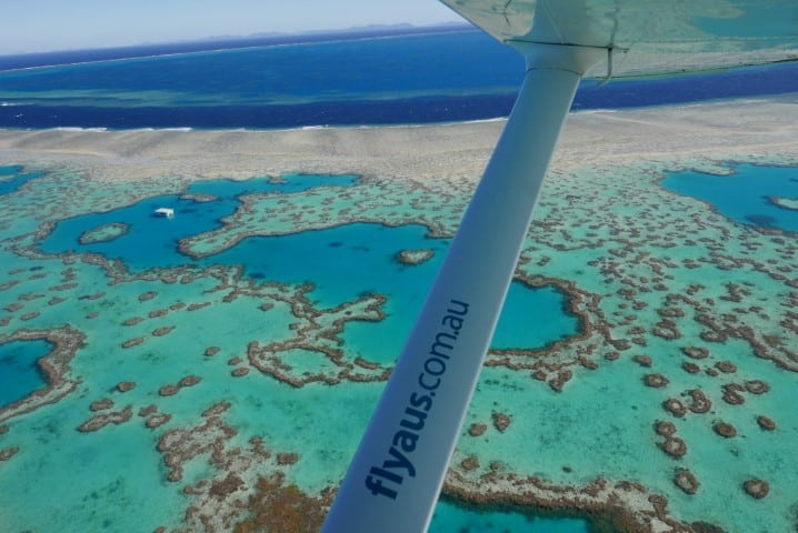 Whitsundays Scenic flight looking at heart reef